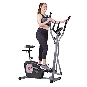 Elliptical Trainer and Exercise Bike with Seat and Heart Rate Pulse Sensors