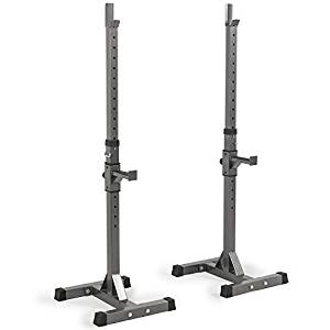 Akonza 2PCS Adjustable Rack Solid Steel Standard Squat Barbell Free