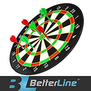 Betterline 16-inch Magnetic Dart Board with 6 Darts