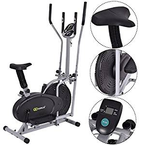 Gymax 2 IN 1 Elliptical Fan Trainer Exercise Bike