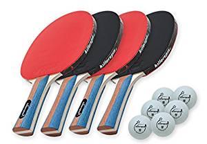 Killerspin JETSET4 – Table Tennis Set with 4 Ping Pong Paddles and 6 Ping Pong Balls