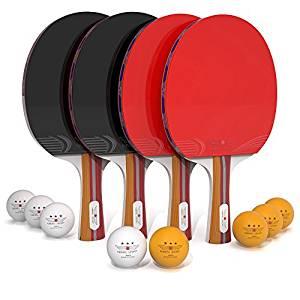Ping Pong Paddle Set (4-Player Bundle) 4 Ping Pong