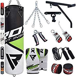 RDX Punching Bag Filled Wall Bracket Boxing Training MMA Heavy Punch Gloves Chain