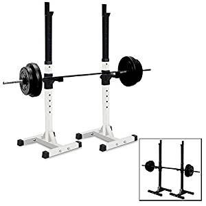 Set of 2 Adjustable Standard Solid Steel Squat Stands Gym