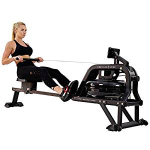 Sunny Health & Fitness Water Rowing Machine Rower w/ LCD Monitor – Obsidian SF-RW5713