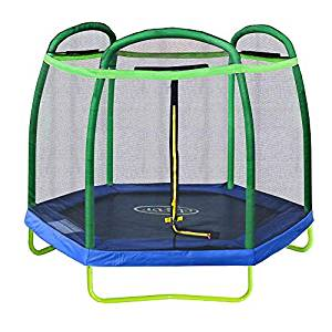 Clevr 7 ft Small Kids Trampoline and Safety Enclosure Net