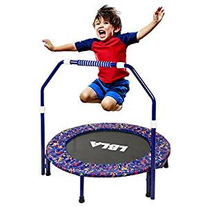 LBLA Kids Trampoline with Adjustable Handrail
