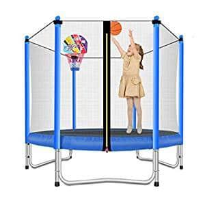 Lovely Snail Trampoline with Basketball Hoop for kids – 5 feet
