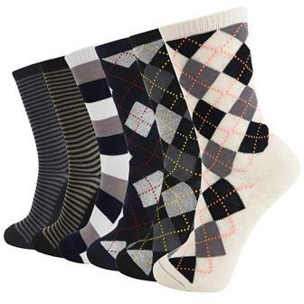 6 Pack Soft Men's and Women's Bamboo Crew Socks Antibacterial Cushioned Dress Casual Socks from +MD
