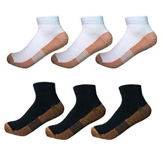 6 Pairs Copper, Athletic Ankle Sport, Antibacterial Socks for Men and Women from ACTINPUT