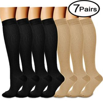 Compression Socks (7 Pairs), 15-20 mmHg