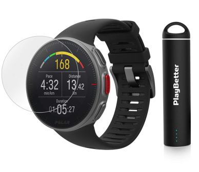 PlayBetter Polar Vantage V Pro Multisport Watch Bundle Portable Charger & Screen Protectors