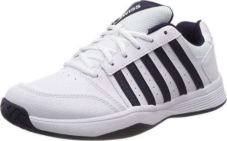 K-Swiss Men`s Court Smash Tennis Shoes White and Navy
