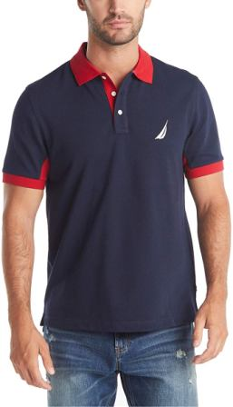 Nautica Men's Short Sleeve Performance Pique Polo Shirt