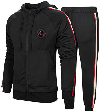 DUOFIER Men's Hooded Athletic Tracksuit
