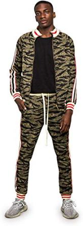G-Style USA Men's Side Stripe Zipper Jacket Tracksuit